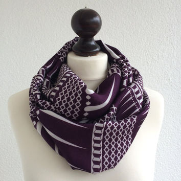 Purple Plum Loop Scarf, Geometric Circle Scarf, Soft Satin Printed Infinity Scarf, Boho Foulard, Women's Gift,  Christmas Gift, Designscope