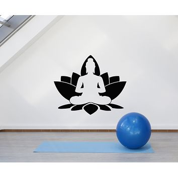 Vinyl Wall Decal Buddha Lotus Flower Buddhism Yoga Meditation Stickers Mural (g916)