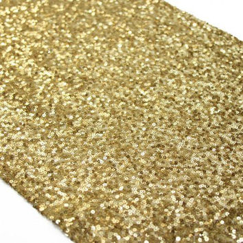1 YARD Gold Sequins Seaweed Fabric