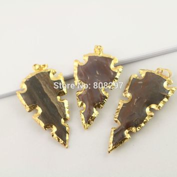 5Pcs Gold Color Rough Natural Stone Carved Arrowhead Pendant Beads, Gems Pendants For Jewelry Making