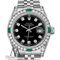 Women's Rolex Datejust 31mm Steel Black Emerald Diamond Dial Watch With A Track