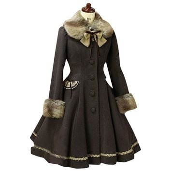 Lovely  Wool Hooded Sweet Lolita Coat Girls Winter Coats Brand Long Winter Coat 3Colors