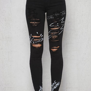PacSun Black Handwriting Ripped High Rise Skinny Jeans at PacSun.com