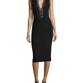 Camilla & Marc Arches Sleeveless Scalloped Lace & Ponte Cocktail Dress, Black