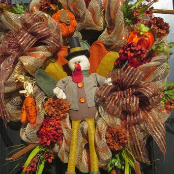 Thanksgiving Wreath, Turkey Wreath,  Fall Mesh Door Wreath, Thanksgiving Door Wreath, Wreath for Thanksgiving, Fall Front Door Wreath