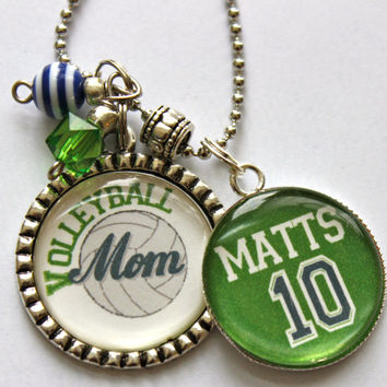 Volleyball Mom necklace with number mom grandma nana childrens names sport jersey number team colors custom cute bling