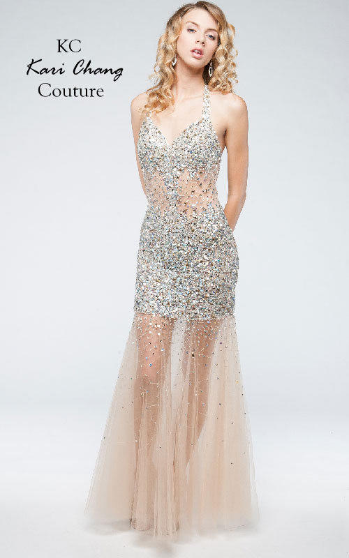 kc14227 Sheer Prom Dress Nude Jeweled by from myprimabella | PROM