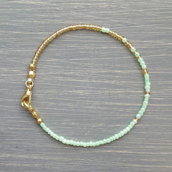 Simple + Stunning Seed Bead Friendship Bracelet // Gold + Seafoam Green Ombre // Stackable Bracelet // Customizable