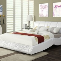 Nathan collection white bycast faux leather padded headboard footboard and rails queen size modern bed set