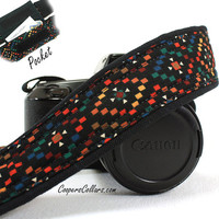 Tribal Diamonds Camera Strap with Pocket, dSLR or SLR, Southwestern, Multicolor