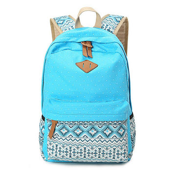 Blue Ethnic Backpack Travel Bag