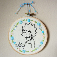 LISA SIMPSON hand embroidery with freehand colorful floral frame, flowers, leaves, ehh face