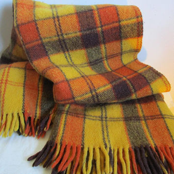 Vintage 1980s Klippen Saule Throw Orange Yellow Plaid Camp Blanket Wool 80s Cover