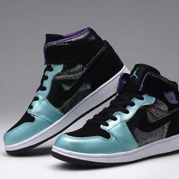 DCCKIJ2 Women's Nike Air Jordan 1 Retro High Leather Basketball Shoes Black Purple