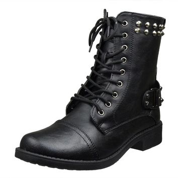 Womens Ankle Boots Faux Leather Spiked Studded Lace Up Combat Boots Black SZ