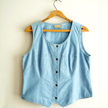 Vintage 90s Chambray Crop Top Vest