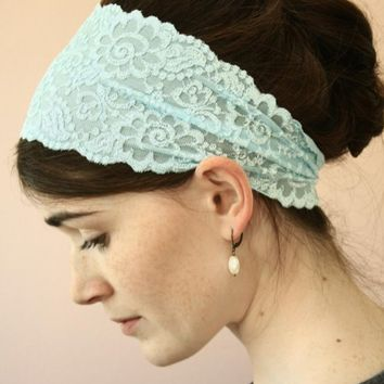 Sky BLUE stretch LACE Headband hair wrap head by GarlandsOfGrace