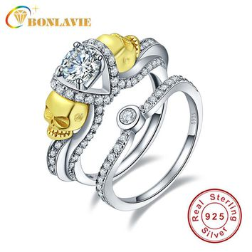 BONLAVIE Skull Ring AAA White Cubic Zirconia Anillos De Plata 925 Couple Ring Set Charms Engagement Ring for Women Wedding