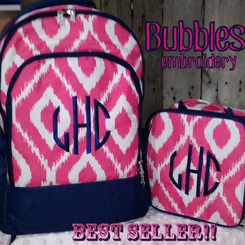 Pink and Navy Ikat Backpack and Lunch Box with Natural Cirlce Monoram FREE MONOGRAM Pink