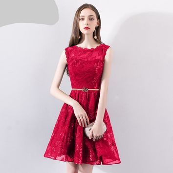 Red Shining Sequins Embroidery Sleeveless Illusion Party Dresses O-neck Short Formal Gowns E006