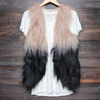 nightlife ombre faux fur vest
