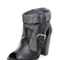 Hip Peep Toe And Side Buckle Black Open Booties