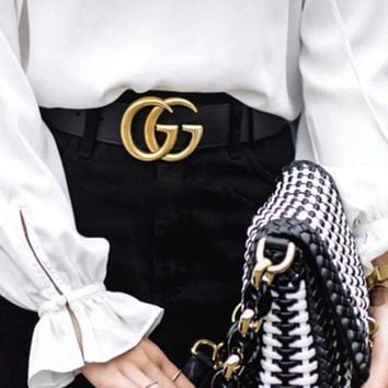 GUCCI Fashionable Women Men GG Pearl Smooth Buckle Leather Belt