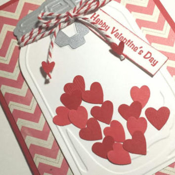 Handmade Valentines Day Card, Mason Jar Valentine Card, Stampin UP Valentine Card