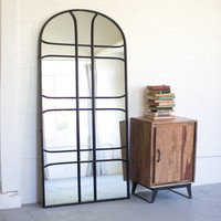 Leaning Arched Iron Mirror