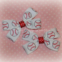Baseball Bow ~ Baseball Clippies ~ Red & White Bows ~ Sports Team Bow ~ Polka Dot Bows ~ Small Baseball Bow ~ Baby Toddler Bow ~ Baseball