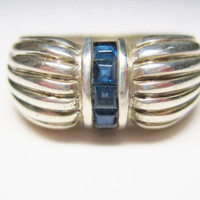 Vintage Sapphire Ring 925 Sterling Size 9 Channel Set