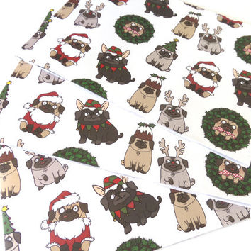 Pug Christmas Gift Wrap and tag set