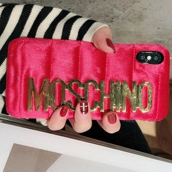 Gotopfashion Moschino iPhone 7  8 iPhone 7 8 plus - Stylish Cute Metal Logo Phone Case For iphone 6 6plus  iphone X Red