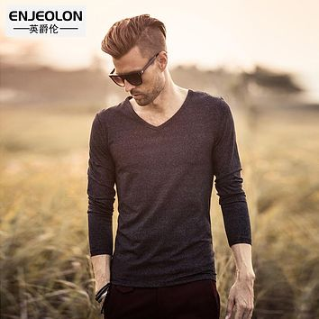 new Men Fashion T Shirts solid flower black Clothing For Man's Long Sleeve T-Shirts Slim Tops Tee