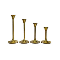 Vintage Brass Candlesticks Set of 4 Graduated Tulip Base Stair Step Candle Holder Lot Gold Wedding Centerpiece Dining Room Table Home Decor