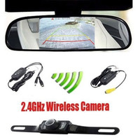 "4.3"" Car TFT LCD Monitor Mirror + Wireless Reverse Car Rear View Backup Camera Kit (Size: 0.6 kg, Color: Black)"