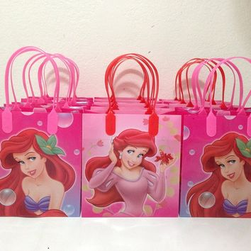 Disney Little Mermaid Party Favor Goodie Small Gift Bags, pack of 12
