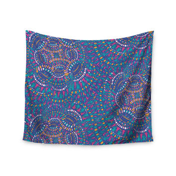 "Miranda Mol ""Kaleidoscopic Blue"" Blue Geometric Wall Tapestry"
