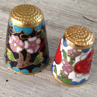 Vintage Cloisonné Thimbles, Brass and Enamel Thimbles, Sewing Collectible Items