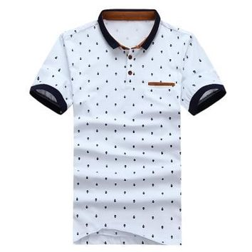 New POLO Shirt Men Cotton Fashion Skull Dots Print Camisa Polo Summer Short-sleeve Casual Shirts