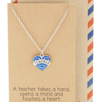 Carol Teacher Gifts - Heart Necklace and Bangle Bracelet with Love Charms