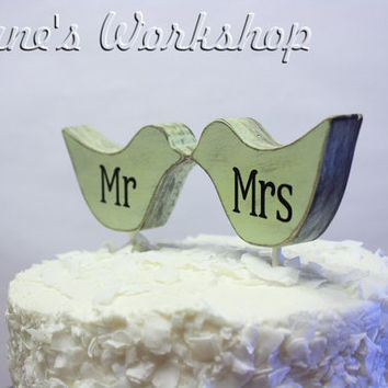 mr and mrs Love Bird cake topper custom love by DuanesWorkshop