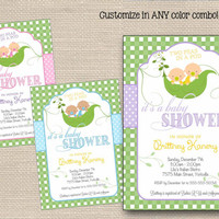Two Peas in a Pod Baby Shower Invitations Printable // Sweet Pea Invitation // Girl, Boy, Twins, Neutral