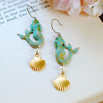 Mermaid Earrings. Patina Verdigris Mermaid Earrings, Gold Seashell Earrings, Mermaid Jewelry, Beach Wedding Jewelry, Long Statement Earrings