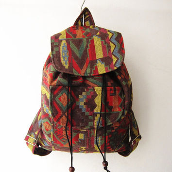 indian backpack,ethnic rucksack, hipster backpack, aztec school bag, tribal backpack, native american bag,geometric shoulder bag, gift idea
