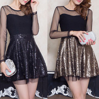 Fashion sequined gauze dress