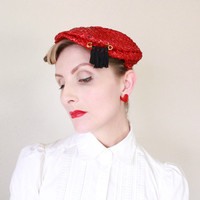 1940's Hat,VINTAGE, Page Boy, Red, Summer, Straw, Navy Blue, 40s, Pin Up, Cute!