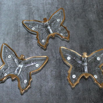 Set of three Jeanette Glass butterfly dishes with gold trim, trinket dish, jewelry dish, relish dish, condiment bowl