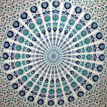 Indian Mandala Tapestry Hippy Wall Hanging Throw Tapestries Indian Bedspread Dorm Wall Decorative Art Beach Sheet Coverlet