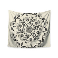 "Famenxt ""Black & White Decorative Mandala"" Geometric Wall Tapestry"